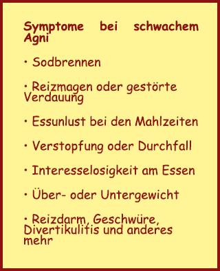 Symptome bei schwachem Agni