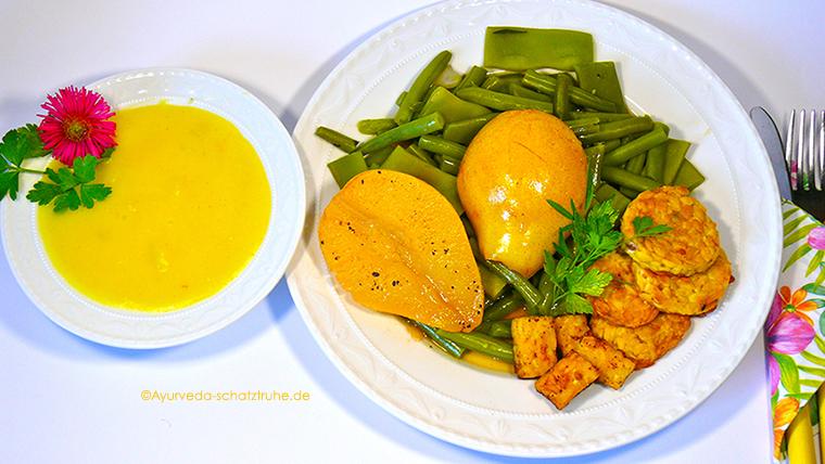 Birnen, Bohnen und Tempeh – ein ayurveganes Rezept