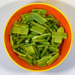Frische Bohnen, geschnibbelt