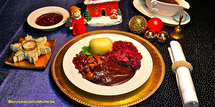 Festessen mit Bratensoße ayurvegan, vegan, vegetarisch