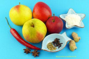Zutaten für ayurvedisches Apfel-Chutney