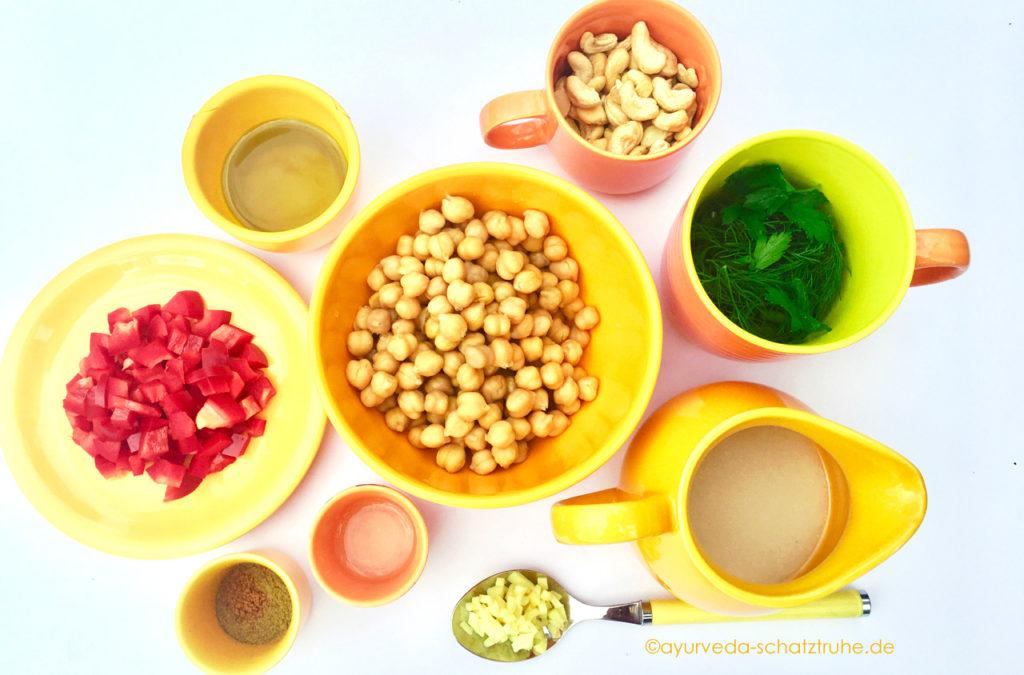 Zutaten für Hummus Ayurveda ohne Knoblauch