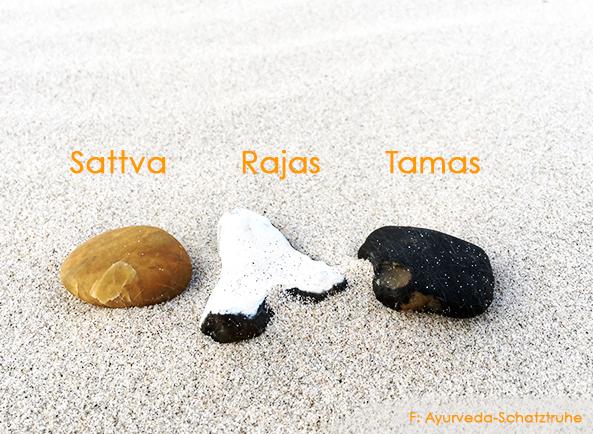 Ayurveda und die drei Gunas, Sattva, Rajas und Tamas, sattwisch sattvisch rajasisch tamasisch