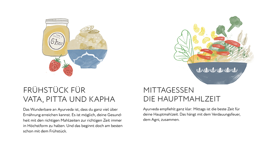 Ayurveda Buch im Flow Illustrationen